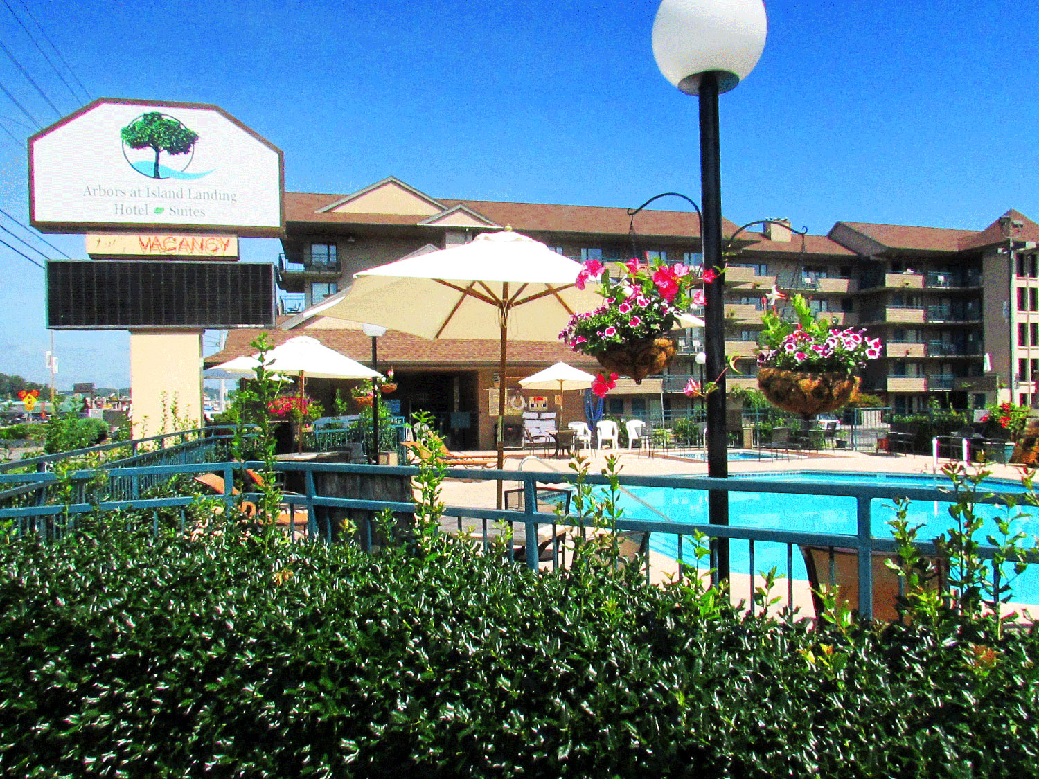 Pool side at Arbors at Island Landing Hotel & Suites Pigeon Forge