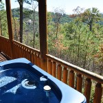 Lower Porch with hot tub - Luxury 5 Bed cabin rental, Pigeon Forge