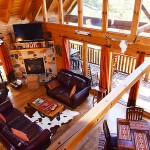 Shaconage Great Room, cathedral ceiling and beams -  Luxury 5 Bed cabin rental, Pigeon Forge