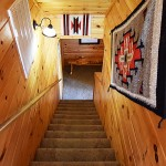 Luxury Cabin 5 Beds, Paniorama View - Shaconage - Stairs to lower level game rm, bedrooms and porch with hot tub